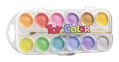 Acuarele Pearly 12 culori/set + pensula Toy Color