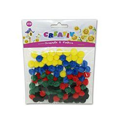 Set creativ pom-pom, material textil, 70 bucati/set, diferite culori