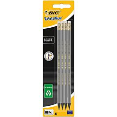 Set creioane grafit Eco Evolution Black cu radiera BIC, 4 buc