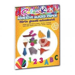 Hartie glasata adeziva A4 10 culori/set, Colour Kids