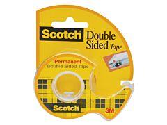 Banda dublu adeziva Scotch, transparenta, cu dispenser, 12 mm x 6.3 m