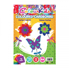 Carton colorat Colour Kids A4 160 gr x 24 coli , 12 culori