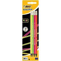 Set creioane grafit Evolution FLUO cu radiera BIC, 4 buc