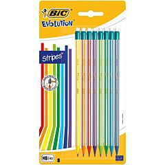 Set creioane grafit Evolution STRIPES 646 cu radiera BIC, 8 buc