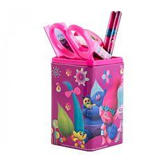 Suport de birou echipat Trolls, 1 compartiment mare, 2 mici, 6 piese, plastic, Multicolor