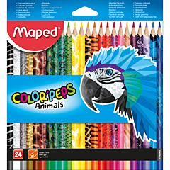Creioane colorate, 24 buc/set, Animals