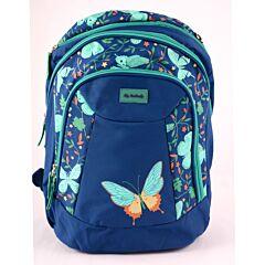 Ghiozdan 3 compartimente bleumarin Butterfly