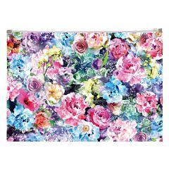 Mapa plastic A4, inchidere cu fermoar, design Trandafiri