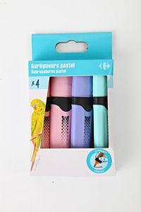 Set textmarkere pastel Carrefour, 4 buc, Multicolor