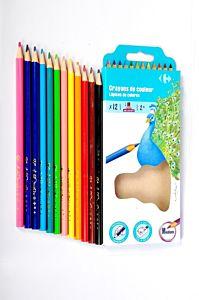 Set 12 creioane color, forma triunghiulara, Carrefour
