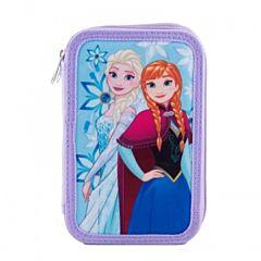 Penar echipat Frozen, 3 fermoare, 3 compartimente, 46 piese, 19.3x13x6.5 cm, material textil, Multicolor