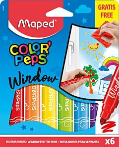 Set carioci pentru geam Color Peps Maped, 6 buc