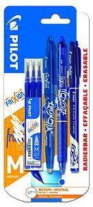 Set roller Frixion ball 0.7 alb + clicker 0.7 albastru + finelinner albastru + 3 rezerve albastre