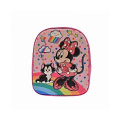 Ghiozdan cu imprimeu 3D Minnie Mouse, 1 compartiment cu fermoar, 1 buzunar lateral