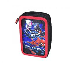 Penar cu 3 compartimente, inchidere cu fermoar, 21x14x7 cm, imprimeu Spiderman, Multicolor