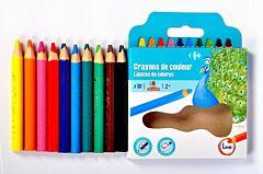 Set 10 creioane color mini jumbo, forma triunghiulara, Carrefour