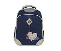 Ghiozdan pentru fete Inimi, Carrefour, clasele I-IV, 41 cm