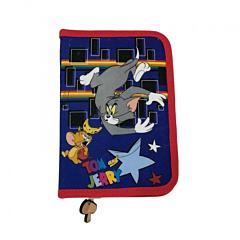Penar cu fermoar si 2 flapsuri, imprimeu Tom si Jerry, material textil, Multicolor
