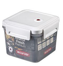 Set 2 cutii alimente Curver Aroma Fresh Premium, inchidere ermetica, plastic,  1.1 + 1.7L, 15.5 x 15.5 x 20.3 cm, patrata, Transparent
