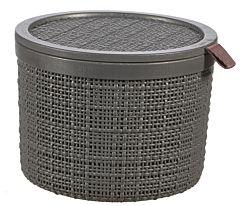 Cos depozitare rotund cu capac Curver Jute, aspect iuta, plastic, 2L, 36 x 28 x 15 cm, Gri