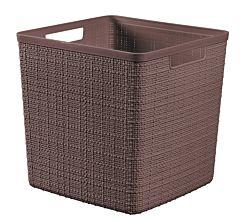 Cos depozitare multifunctional cub Curver Jute, aspect iuta, plastic, 17L, 36 x 28 x 15 cm, Maro
