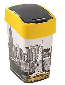 Cos gunoi cu capac batant, CURVER, FLIP BIN NEW YORK, plastic 25L, 26 x 47 x 34 cm, galben