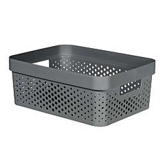 Cutie depozitare multifunctionala cu manere Curver Infinity, plastic reciclat, 11L, Gri
