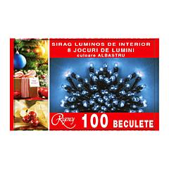 Instalatie sirag 100 beculete, 8 jocuri de lumini, 5 m, cablu de alimentare 1.5 m, Albastru