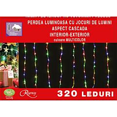 Instalatie perdea tip cascada de lumini cu 320 LED-uri, efect curgator, 2.5 m x 2.5 m, Multicolor