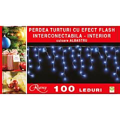 Instalatie perdea aspect turturi 100 LED-uri, cu efect flash, interconectabila, 3 m, Albastru