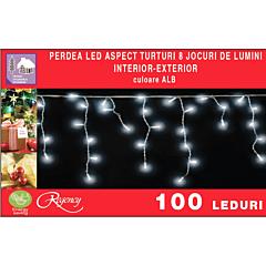 Instalatie perdea cu aspect de turturi 100 LED-uri, 8 jocuri de lumini, 4 m, Alb