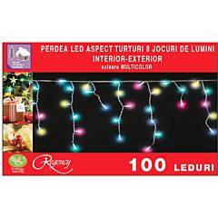 Instalatie perdea aspect turturi 100 LED-uri, 8 jocuri de lumini, 4 m, Multicolor
