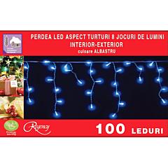 Instalatie perdea aspect turturi 100 LED-uri, 8 jocuri de lumini, 4 m, Albastru