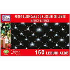 Instalatie retea 160 LED-uri, 8 jocuri de lumini, 2.00 x 1.20 m, Alb