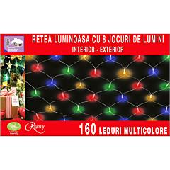 Instalatie retea 160 LED-uri, 8 jocuri de lumini, 2.00 x 1.20 m, Multicolor