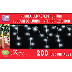 Instalatie perdea cu aspect de turturi 200 LED-uri, 8 jocuri de lumini, 6.12 m, Alb