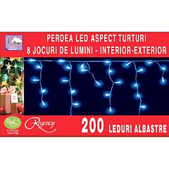 Instalatie perdea aspect turturi 200 LED-uri, 8 jocuri de lumini, 6.12 m, Albastru