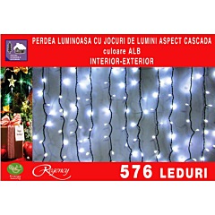 Instalatie perdea tip cascada de lumini 576 LED-uri, efect curgator, 3 m x 2 m, Alb