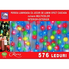 Instalatie perdea tip cascada de lumini 576 LED-uri, efect curgator, 3 m x 2 m, Multicolor