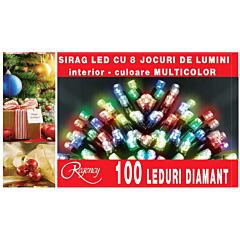 Instalatie sirag 100 LED-uri, 8 jocuri de lumini, 5 m, cablu alimentare 1.5 m, Multicolor
