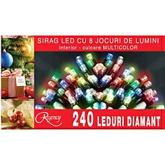 Instalatie sirag 240 LED-uri, 8 jocuri de lumini, 12 m, cablu alimentare 1.5 m, Multicolor