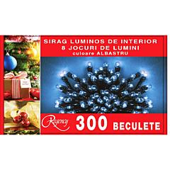 Instalatie sirag 300 beculete, 8 jocuri de lumini, 15 m, cablu de alimentare 1.5 m, Albastru