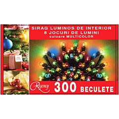 Instalatie sirag 300 beculete, 8 jocuri de lumini, 15 m, cablu de alimentare 1.5 m, Multicolor