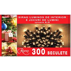 Instalatie sirag 300 beculete, 8 jocuri de lumini, 15 m, cablu de alimentare 1.5 m, Alb