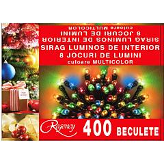 Instalatie sirag 400 beculete, 8 jocuri de lumini, 20 m, cablu alimentare 1.5 m, Multicolor