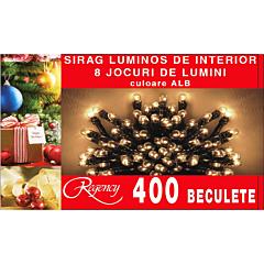 Instalatie sirag 400 beculete, 8 jocuri de lumini, 20 m, cablu alimentare 1.5 m, Alb