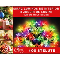 Instalatie sirag 100 stelute, 8 jocuri de lumini, 5 m, cablu de alimentare 1.5 m, Multicolor