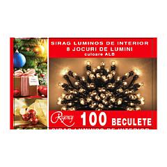 Instalatie sirag 100 beculete, 8 jocuri de lumini, 5 m, cablu de alimentare 1.5 m, Alb