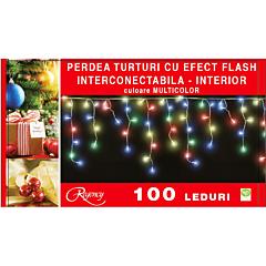 Instalatie perdea aspect turturi 100 LED-uri, cu efect flash, interconectabila, 3 m, cablu alimentare 1.5 m, Multicolor