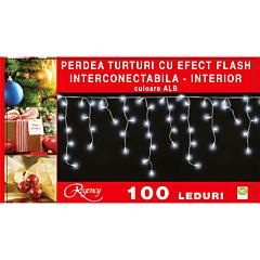 Instalatie perdea aspect turturi 100 LED-uri, cu efect flash, interconectabila, 3 m, cablu alimentare 1.5 m, Alb